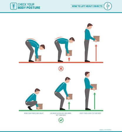 Korrekt lyftteknik och kropps ergonomi: Hur man lyfter tunga föremål på ett säkert sätt Illustration
