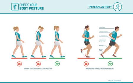 salud y deporte: El caminar y correr correcta postura: la ergonomía del cuerpo, el deporte y la salud infografía Vectores