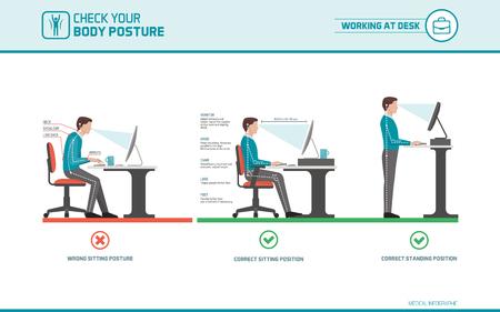 Consejos de ergonomía correctos para los trabajadores de oficina: cómo sentarse en la mesa cuando se usa una computadora y cómo usar una estación de trabajo de pie Foto de archivo - 75839071