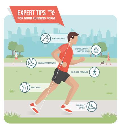 適切な実行しているフォーム、スポーツ人間工学インフォ グラフィック: ランニング テクニックを向上する屋外や専門家のヒントを実行する選手