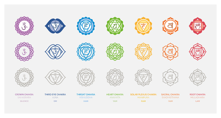 The seven chakras set, their meaning and sanskrit name; spirituality and energy healing concept Illustration