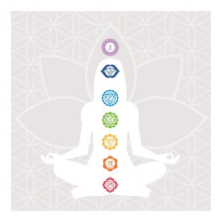 Zeven chakra's, energie lichaam en vrouw mediteren in de lotus positie