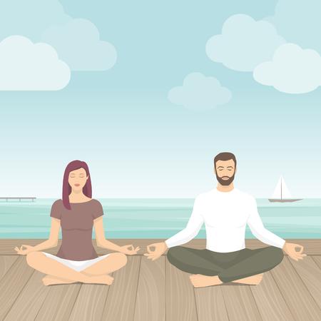 屋外の瞑想の練習のカップルは、彼らは海、ヨガ、自己意識の概念の横に蓮華座に座っています。  イラスト・ベクター素材