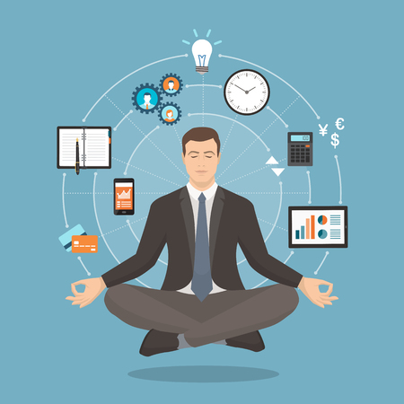 Businessman practicing mindfulness meditation; yoga and self consciousness concept