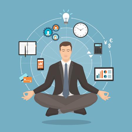 Businessman practicing mindfulness meditation; yoga and self consciousness concept