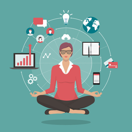 Businesswoman practicing mindfulness meditation; yoga and self consciousness concept Illustration