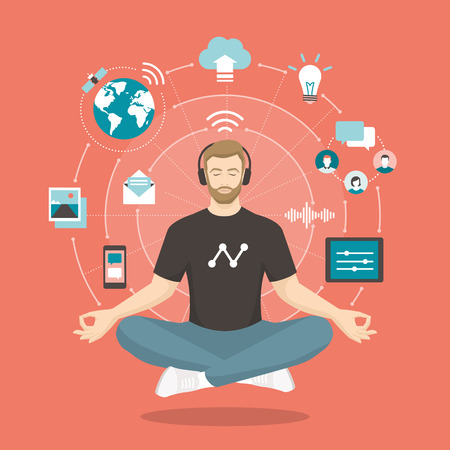 Young man practicing mindfulness meditation, he is clearing his mind, releasing stress and expressing his potential; yoga and self consciousness concept 일러스트