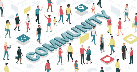 demographics: People connecting in a virtual community: technology and communication concept Illustration