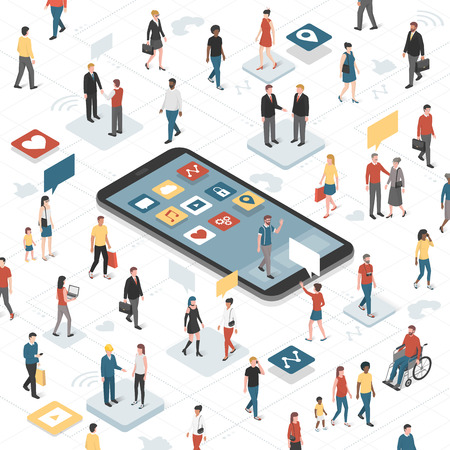 People connecting together through social media and smartphone with apps: communication technology, diversity and accessibility concept
