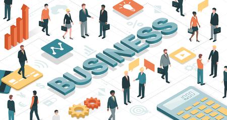 Gente de negocios trabajando juntos en un entorno virtual y objetos de negocios: las finanzas, la comunicación y el concepto de tecnología