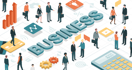 Business people working together in a virtual environment and business objects: finance, communication and technology concept