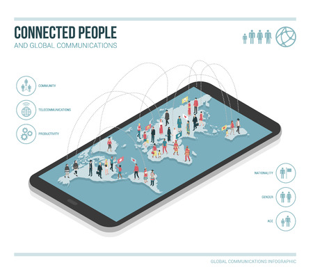 People connecting through social media, they are standing on a smartphone and chatting together, vector infographic
