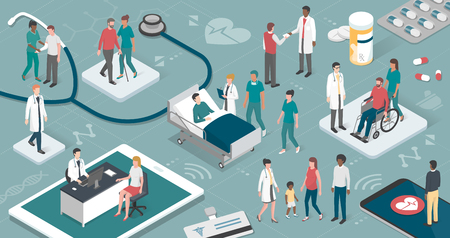 Doctors and nurses taking care of the patients and connecting together: healthcare and technology concept Ilustração