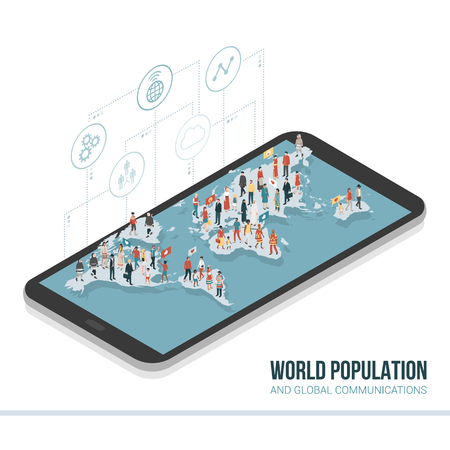 People from all over the world connecting together on a smartphone: global communication, sharing and technology concept Illustration