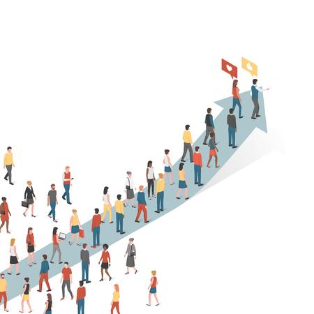 Grupo de personas siguiendo un concepto de flecha, marketing y liderazgo
