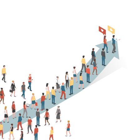 Group of people following an arrow, marketing and leadership concept Illustration