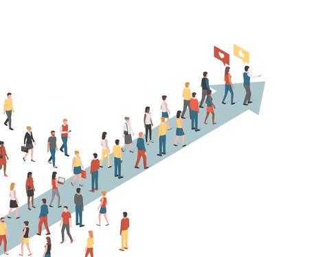 Groep mensen die een pijl-, marketing- en leiderschapskoncept volgen Vector Illustratie