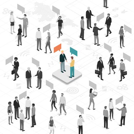 People talking and sharing different ideas, business people shaking hands at center: customer engagement, social media, communication and marketing concept Иллюстрация