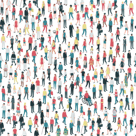 People of all ages and mixed ethnicity groups standing together, community and diversity concept, seamless pattern 向量圖像