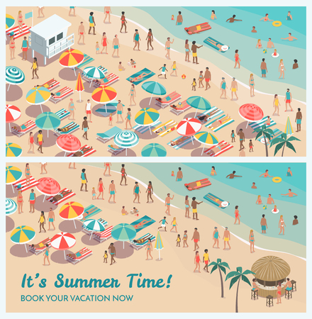 Crowded tropical beach resort banner set with people, beach umbrellas and sunbeds, vacations and travel concept, aerial view