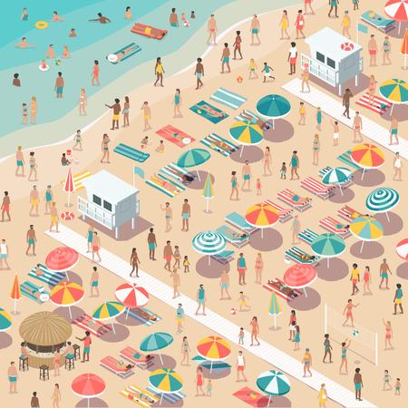 사람들, 해변 우산 및 sunbeds, 여름 휴가 및 관광 개념, 공중보기를 붐비는 다채로운 해변