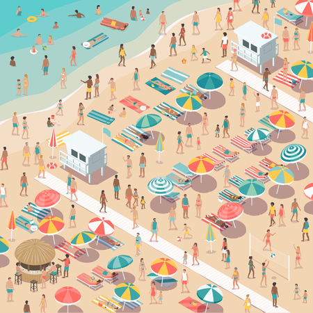 Crowded colorful beach with people, beach umbrellas and sunbeds, summer vacations and tourism concept, aerial view