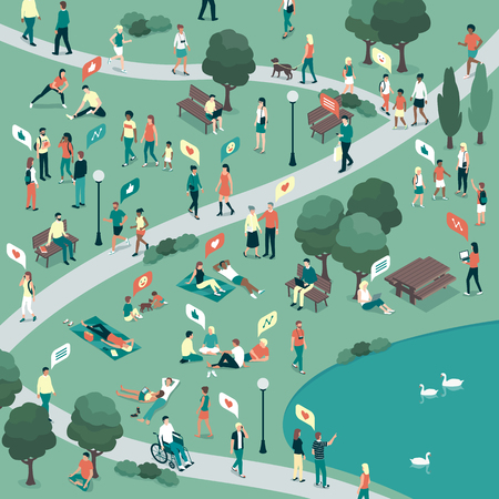 People gathering in the city urban park and relaxing in nature together, community and lifestyle concept