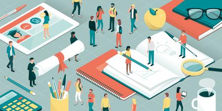 Estudiantes universitarios, investigadores y profesores que estudian juntos, útiles escolares y tableta digital: concepto de educación e investigación Ilustración de vector