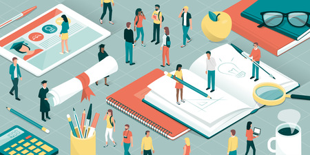 College and university students, researchers and professors studying together, school supplies and digital tablet: education and research concept