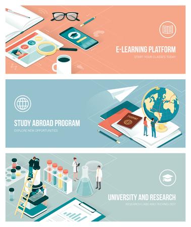 Universität, Forschung und Studium im Ausland Konzept mit isometrischen Menschen und Objekten, Banner gesetzt