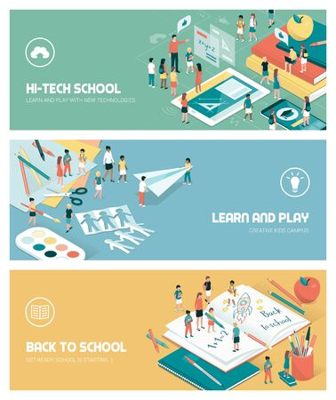 School, education and learning banners set with kids, teachers and objects Illustration