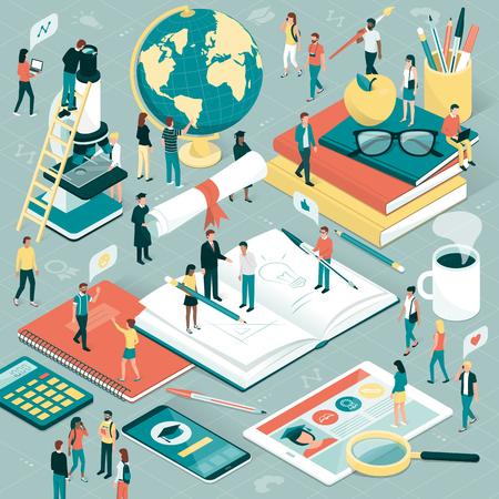 Étudiants collégiaux et universitaires, chercheurs et professeurs qui étudient ensemble, fournitures scolaires et tablette numérique: concept d'éducation et de recherche