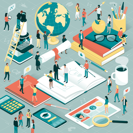 College and university students, researchers and professors studying together, school supplies and digital tablet: education and research concept Imagens - 84430042