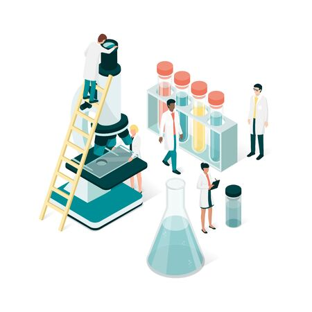 Researchers in the laboratory Illustration