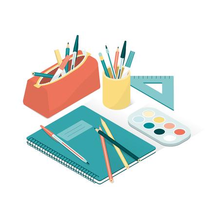 Schulbedarf und Notizbuch, zurück zu Schule und Kreativitätskonzept