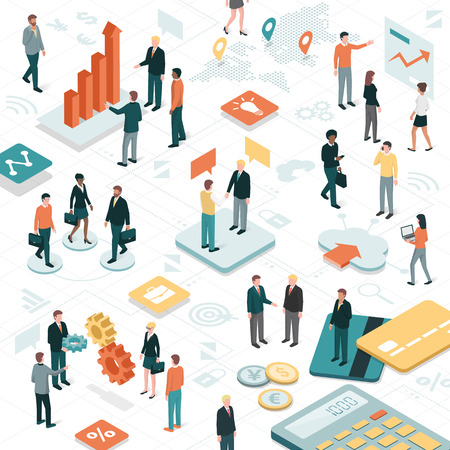 Business people working together in a virtual environment, apps and business objects: finance, communication and technology concept. Stock Illustratie
