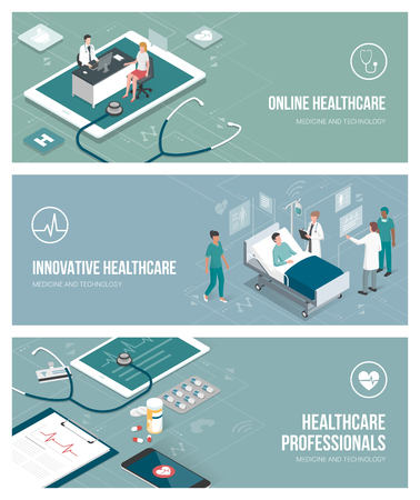 Healthcare, doctors and patients bannenr set with isometric people and objects.