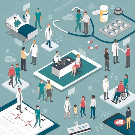 Rzte und Pflegekräfte kümmern sich um die Patienten und verbinden sich online miteinander: Gesundheits- und Technologiekonzept. Standard-Bild - 86088034