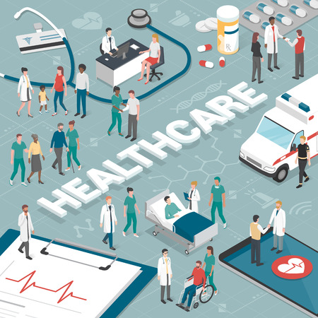 Doctors and nurses taking care of the patients and connecting together online: healthcare and technology concept.