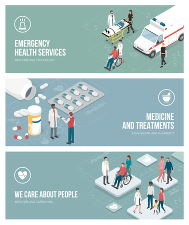 Healthcare, emergency service, medicine and caregiving banners set with isometric people