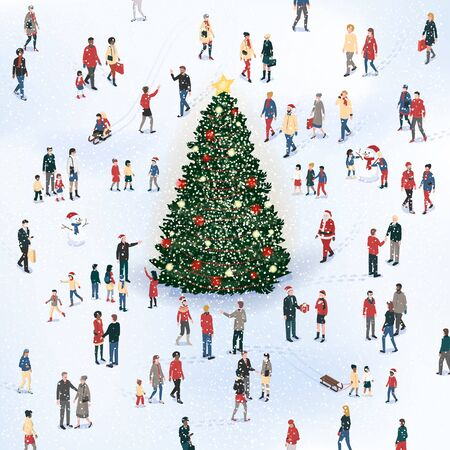 Crowd of people gathering around the Christmas tree under the snow and celebrating together, Christmas card