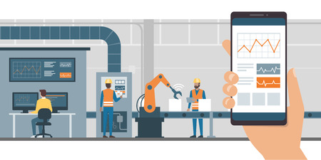 Industry 4.0 monitoring app on a smartphone and smart automated production line with workers and robots on the background Vectores