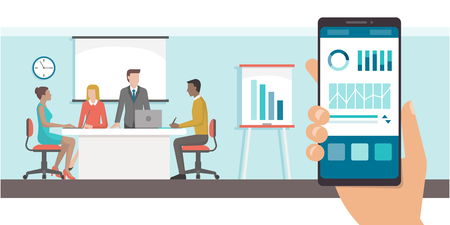 Finance and administration app with charts on a smartphone and business meeting in the office on the background Illustration