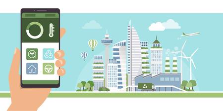 Duurzaamheid, smart home en smart city management-app op een mobiele telefoon en conteporary groene metropool op de achtergrond