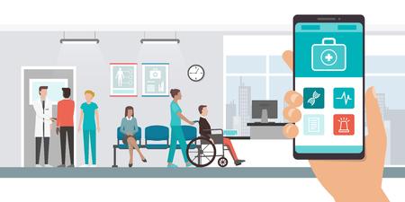 의사, 환자, 의료 및 기술 개념에 스마트 폰 및 병원 혁신적인 의료 애플 리케이션