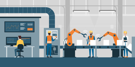 Efficient smart factory with workers, robots and assembly line, industry 4.0 and technology concept Vectores
