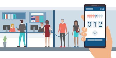 Fast and easy queue app on a smartphone and people waiting in line at the bank front office Vetores