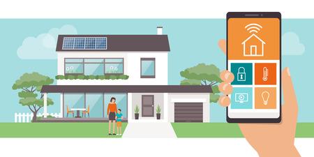 제어 시스템, 배경 및 가족 포즈, 기술 및 라이프 스타일 개념에 에코 하우스와 스마트 홈 애플 리케이션
