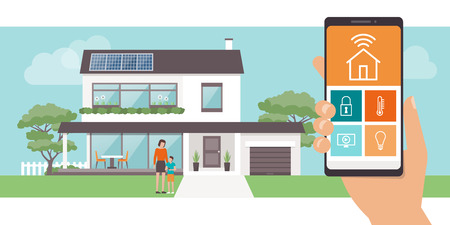 A Smart home app with control system, eco house on the background and family posing, technology and lifestyle concept Illustration