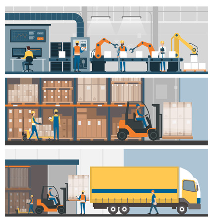 Eine flache Art der intelligenten Fabrik, des Lagers, des Güterverkehrs und der Facharbeiter, Fahnensatz Vektorgrafik